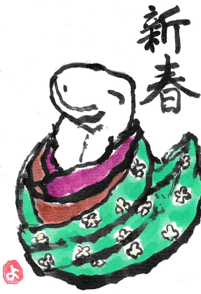 絵手紙ヘビ