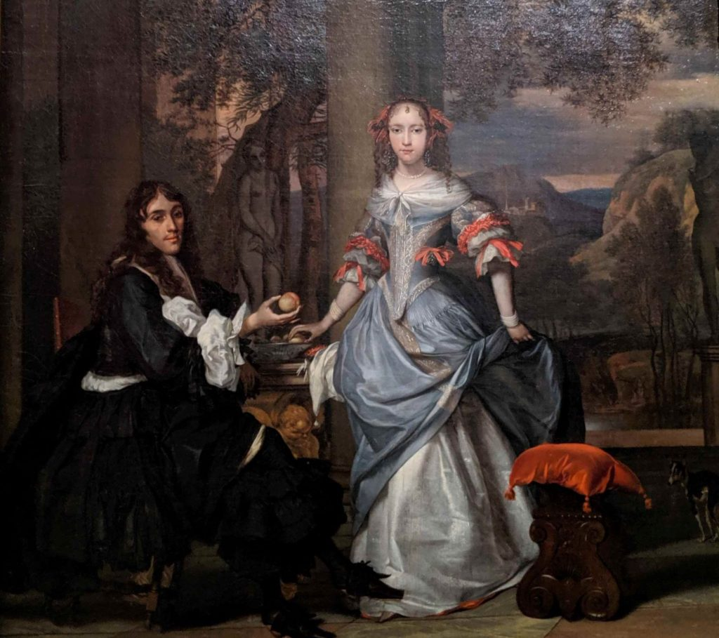 A Lady And Gentleman On Their Garden Terrace by Barent Graat (1628-1709).