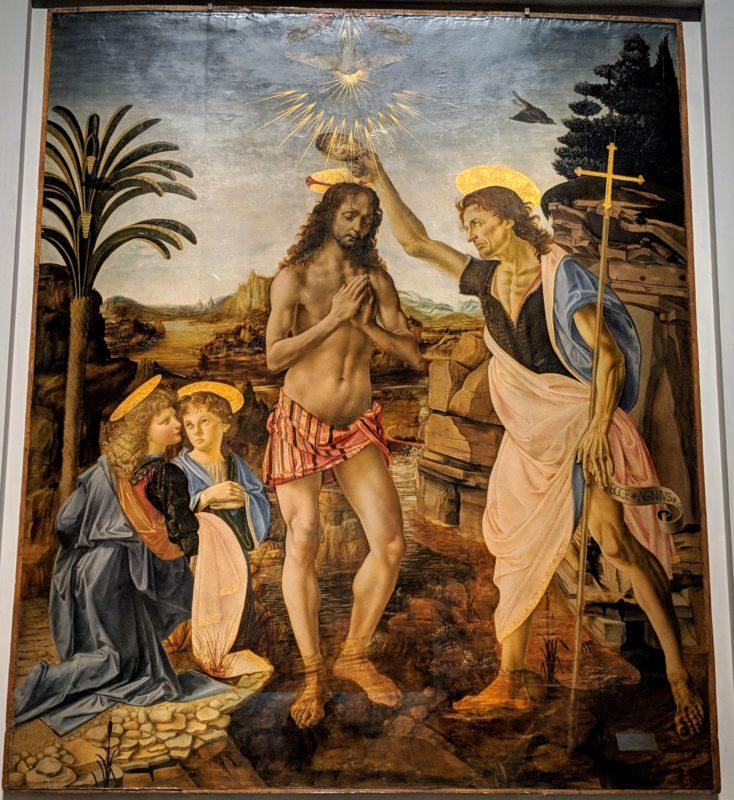 「キリストの洗礼」ヴェロッキオ とレオナルド・ダ・ヴィンチら弟子の絵画